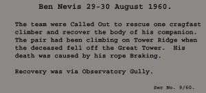 1960 Rope break Ben Nevis