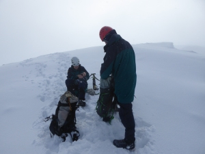 Crampons off for the walk out along the plateau.