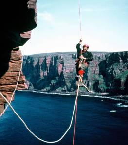 The First Ascent Ian Clough on Hoy Photo H. MacInness.