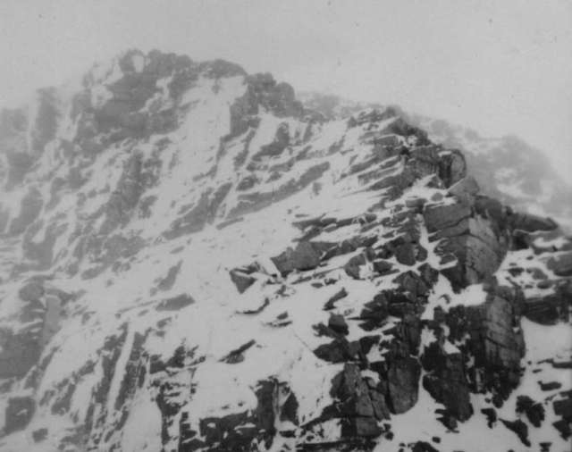 1951 - Joss Goslings incredible photo of the Ugly step high on the ridge an obstacle at the time as few of the team had crampons.