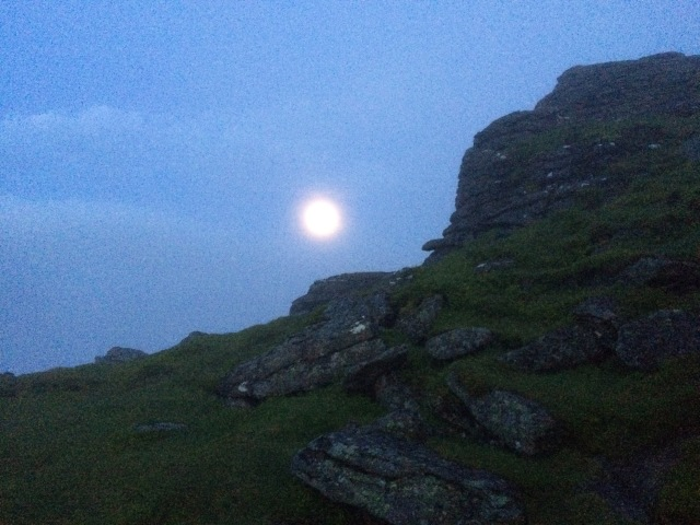 The pulsating moon at the summit when the mist and clouds cleared, spell binding.