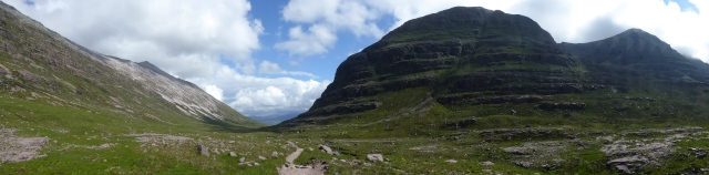 The wonderful walking to my checkpoint on Coire Dubh clear skies and these Torrisonian giants clear and no midges.