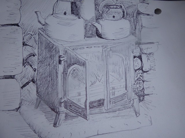 Kettle on after a great day - Hut drawing.