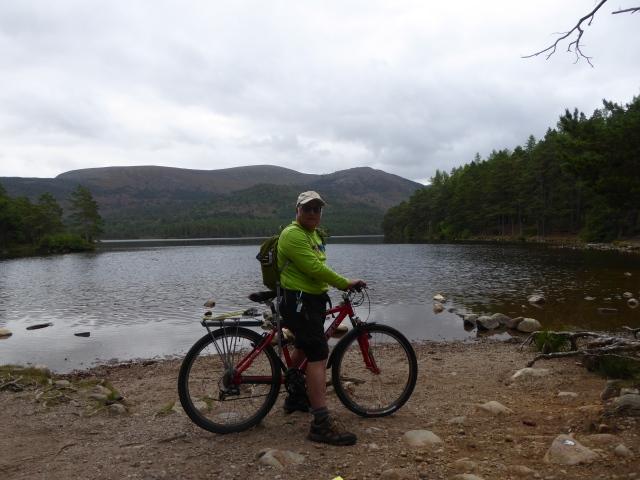 Out on the bike at Loch an Eilein heading for Gleann Eanaich.