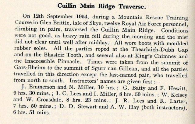 1954 Skye ridge times.
