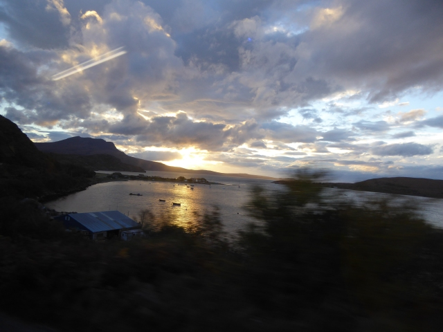 Taken out the Bus window Ardmair at sunset.