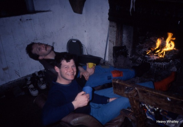 My old mate Mark Cheeky Simclair RIP and Ray Shaferon at Sheneval bothy with a grand fire on