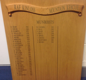 The Munro board at RAF Kinloss.