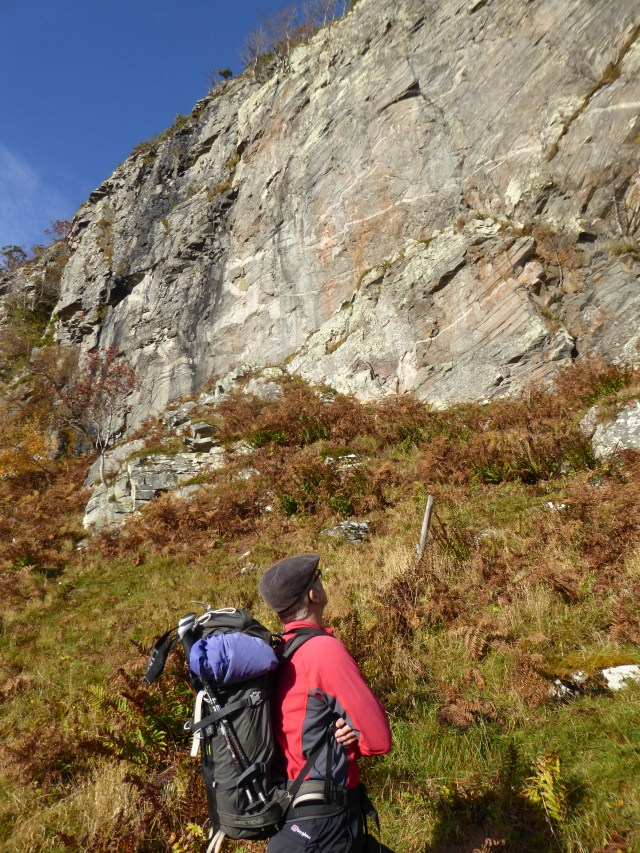 Terry on the way up to Creag Dubh looking at some of the routes.