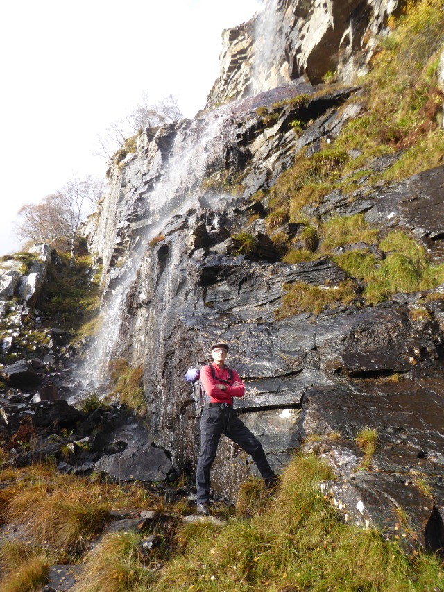 Terry at the classic Waterfall on Creag Dubh.