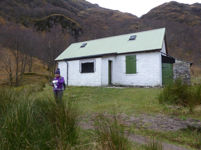 The Steall hut near the waterfall.