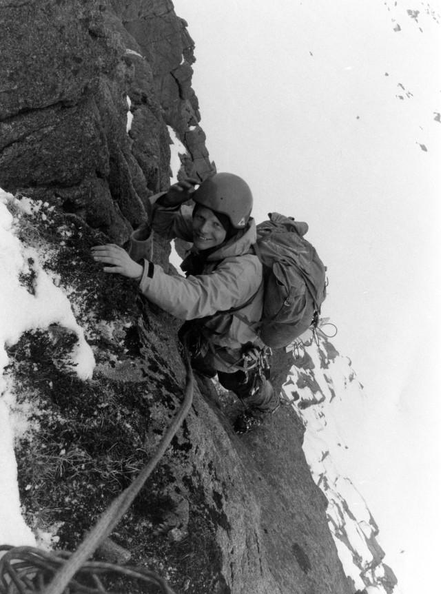 Big Al MacLeod on Hells Lum Crag photo Bill Batson.