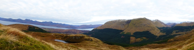 The way off to the right of the lochan and down to the forestry,
