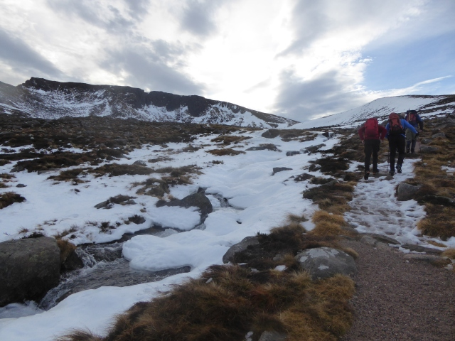 Walking up the West Ridge of Lochan on a balmy January day.