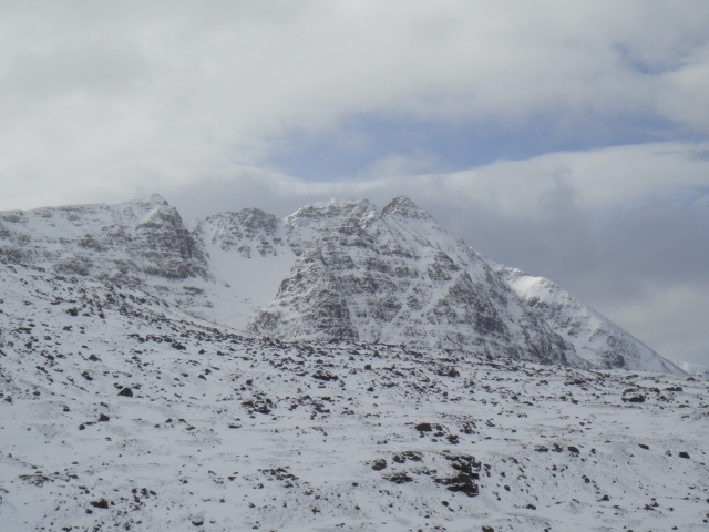 This wild side of Liathach and an awful place to fall and a huge carry off in poor weather.