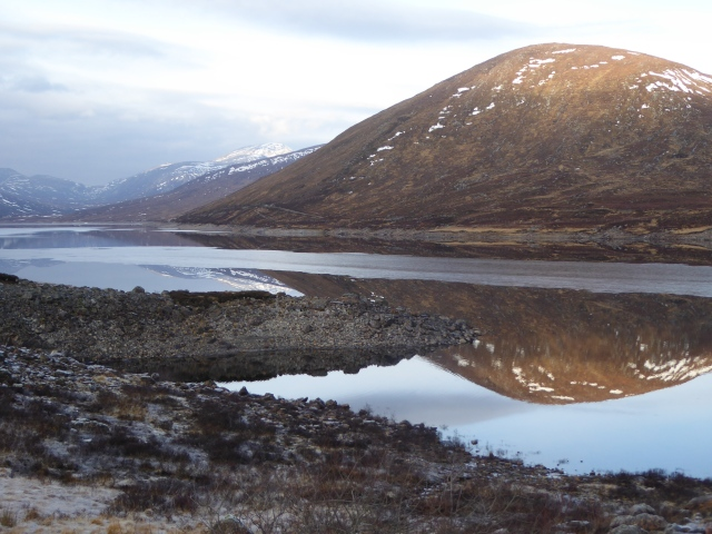 The lochs fairly low just snow and the hills snowless.